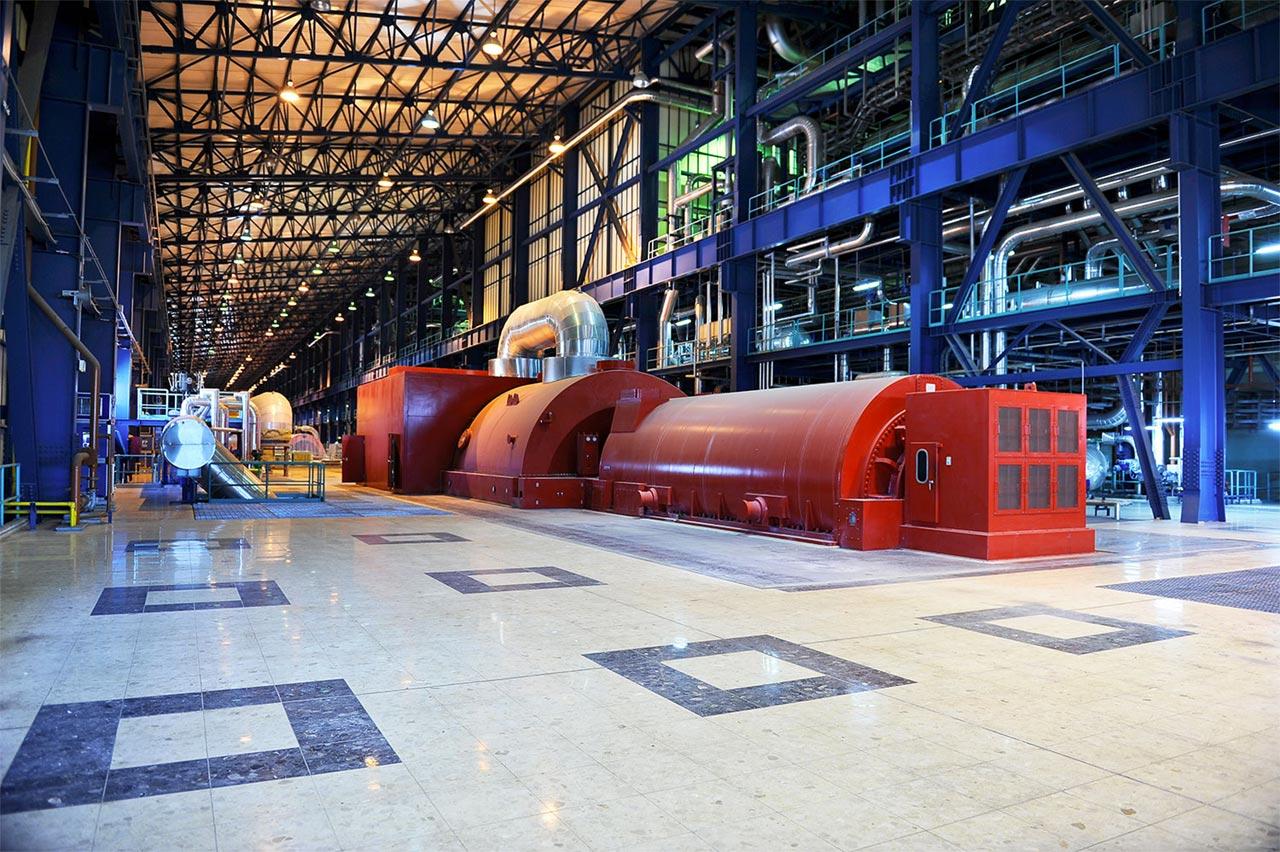 Turbine à l'intérieur de la centrale